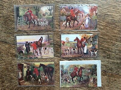 Set 0f 6 Tuck Oilette Postcards 'The Hunt Day' Norah Drummond - Horse - all VGC