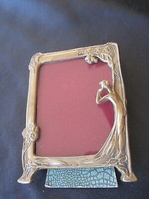 Antique Art Nouveau Nude Brass Easel Back Photo Frame Small