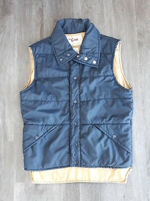 Vintage Nylon Puffer Vest Mens Small Navy and Tan
