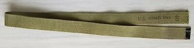 WWII WW2 US Army EM Enlisted OD Canvas Trouser Belt Size 40 - 1944 JQMD Stamped