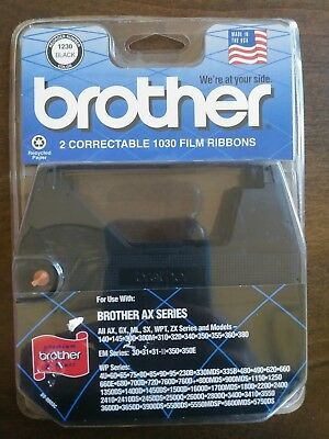 Brother 2 Pack Correctable 1030 Film Ribbons NEW AX Series 1230 Black
