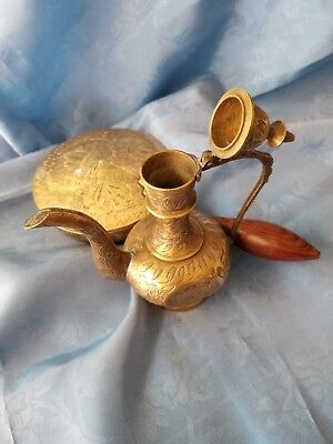 Antique WWII Era INDIA Etched Brass Oil Jar  & Ashtray w/ Hinged Lids - Lot of 2