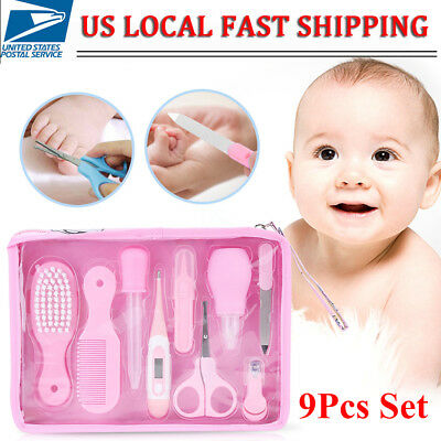 Baby Grooming Manicure Set Baby Nail Clipper Scissor Baby Care 9Pcs Kits US