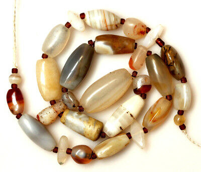 Wonderful Ancient Indo Tibetan Agate and Chalcedony Beads, Bactrian Beads 唐代