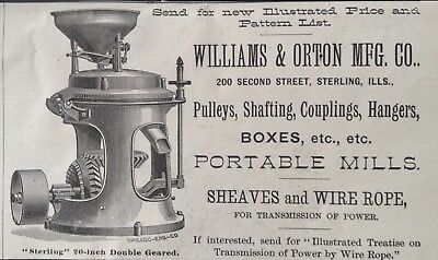 1884 Ad(1800-38)~Williams & Orton Mfg. Co. Sterling, Ill. Portable Mills