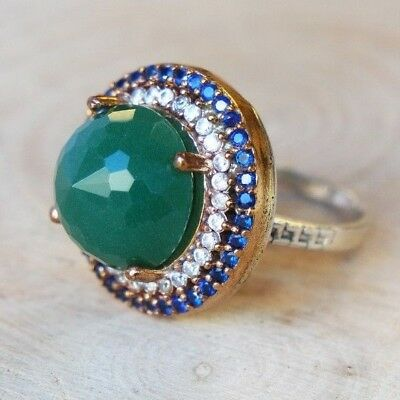 Turkish Handmade Sterling Silver 925 Jewelry Emerald Sapphire Ladies Ring 7.5