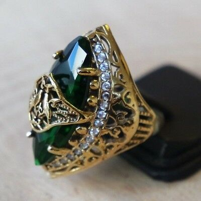 Turkish Handmade Sterling Silver 925 Jewelry Emerald Ladies Ring 8