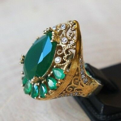 Turkish Handmade Sterling Silver 925 Jewelry Emerald Ladies Ring 6.5