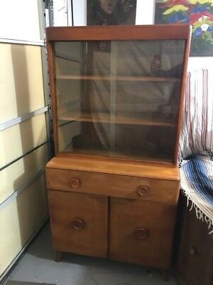 mid century modern china cabinet With glass Doors