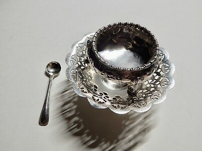 Antique Sterling Silver sugar bowl, sterling silver spoon on silver-plate dish *