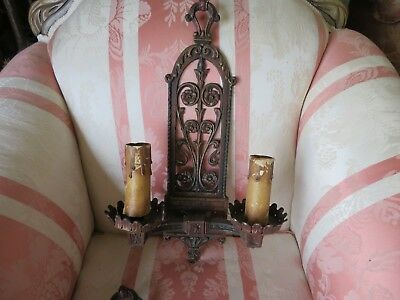 Pair of Beautiful Antique Mission Victorian Style Sconces Metal w/Floral
