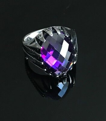 Turkish Handmade Jewelry 925 Sterling Silver Amethyst Men's Ring Size 7,8,9,10