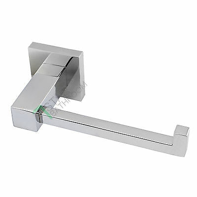 Toilet Paper Holder Hook Chrome Bathroom Washroom Single Square Rack Rail Wall