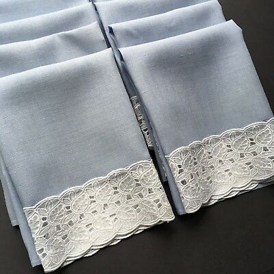 Lot of 12 Vintage Pale Blue Linen Napkins with Organza Leaf Trim - Lovely!