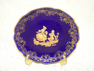 Vintage 1 pcs Limoges Porcelain Plate Art Cobalt Blue 24K Gold Trim And Lovers 2