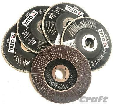 Yato professional flap disc set grid:36 40 60 100 120 diameter 115 or 125