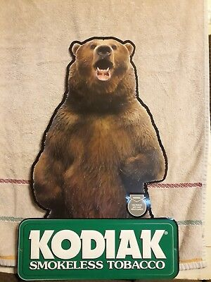 Kodiak Smokeless Tobacco Grizzly Bear Sign Tin Embossed Excellent Condition