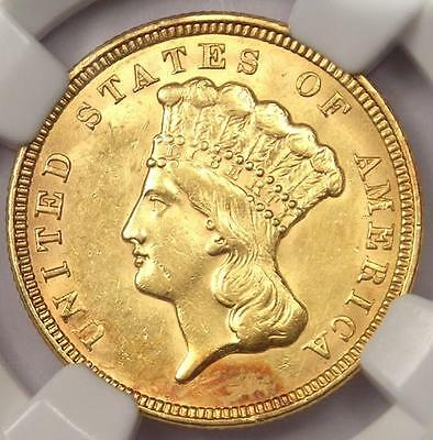 1856 Three Dollar Indian Gold Piece $3 - NGC Uncirculated Dets - Rare BU MS Coin