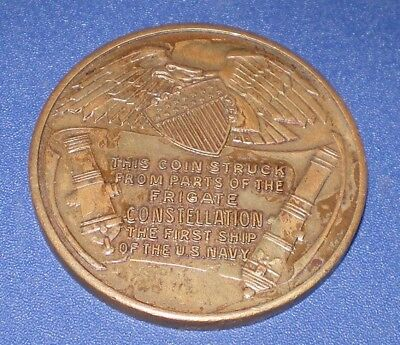 Old Token Coin Struck From Parts U.S. Frigate Constellation First Ship of Navy