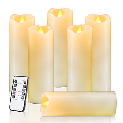 Homemory Flameless Candles Pack of 6 H6 x D2 Battery Operated LED Pillar Real 24