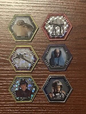 Topps Star Wars Galactic Connexions 6 different Rare Discs, Silver, Purple, Red
