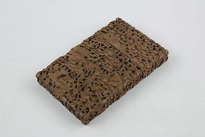Antique Chinese Carved Boxwood Card Case Profusely Decorated