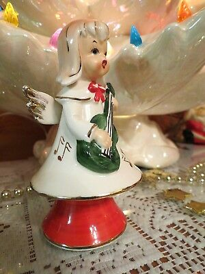 Vtg Lefton Christmas Marika's Original Bobble Angel #4801 Gold Music Note LABEL