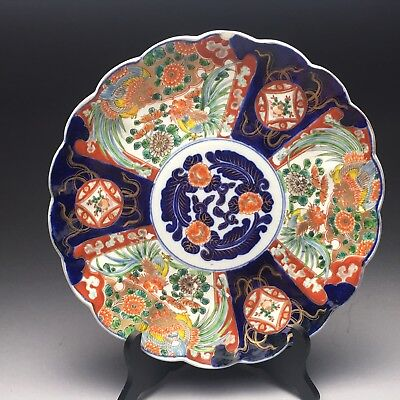 Large Antique Meiji Period Imari Scalloped Charger Plate