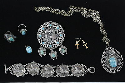 7 x Vintage EGYPTIAN REVIVAL JEWELLERY inc. Faience, Scarabs, Antique, Sphinx