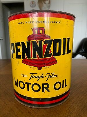 Vintage Pennzoil Motor Oil Can 4 US Quarts