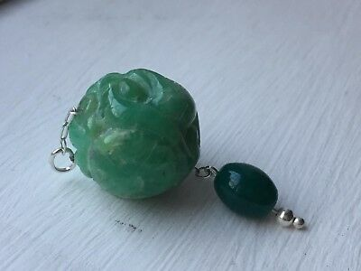 Antique Chinese Carved Genuine Jade Ball Pendant