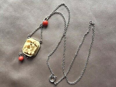 Antique S925 Mark Carved Chinese Coral Silver Necklace