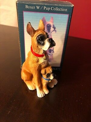 vintage bone china boxer dog figurine unique with Puppy Pup & chain collar