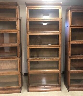 VGC Antique Gunn Quarter Sawn Oak Barrister Bookcase-wavy Glass
