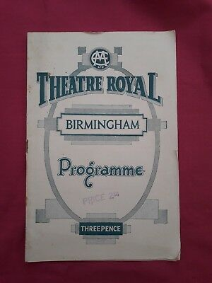 Theatre Royal Birmingham. Programme from 1933. Double Harness