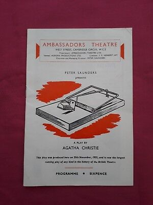 The Mouse trap Theatre programme 1962. Agatha Christie.  Free UK post.
