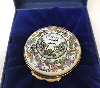 Halcyon Days Enamels Mother's Day Very Much Love Trinket Box Tapered Lavender