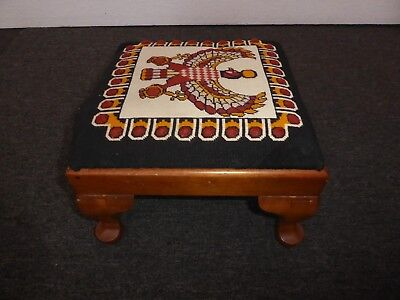 Vintage French Country Southwestern Eagle Footstool w Orange & Yellow Fabric