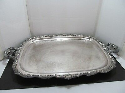 """VINTAGE EXTRA-LARGE (32"""" x 21"""") ANTIQUE SILVERPLATE FOOTED TRAY: BY POOLE"""