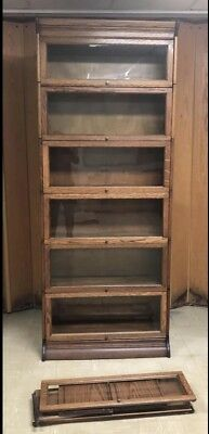VGC Antique Gunn Quarter Sawn Barrister 7 Stack Bookcase