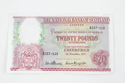Vintage 1957 NATIONAL COMMERCIAL BANK OF SCOTLAND Twenty Pound Note Circulated