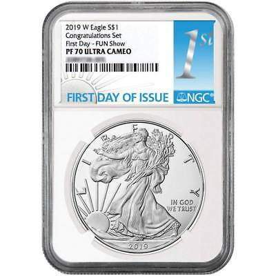 PRESALE 2019-W  $1 Proof  CONGRATULATIONS SET NGC PF70 FIRST DAY FUN SHOW REL.
