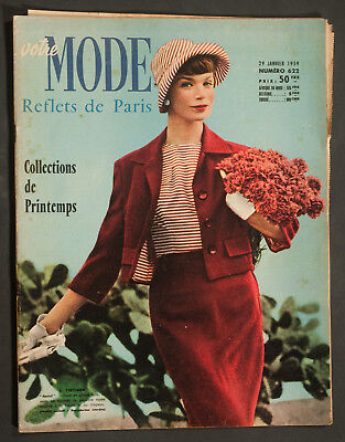 'votre Mode' French Vintage Magazine Spring Collections Issue 29 January 1959