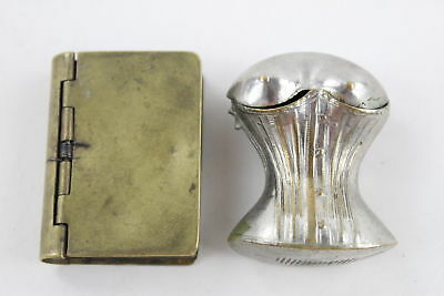 2 x Antique / Vintage MATCHBOX VESTA Cases Inc. Silver Plate, Brass (56g)