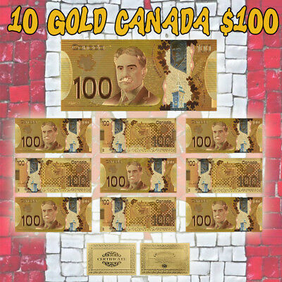 WR 10pcs Canada 100 Dollar Color Gold Banknote One Hundred Dollars Bill Set