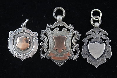 3 x Vintage / Antique Hallmarked .925 STERLING SILVER FOBS inc Gold Detail (32g)