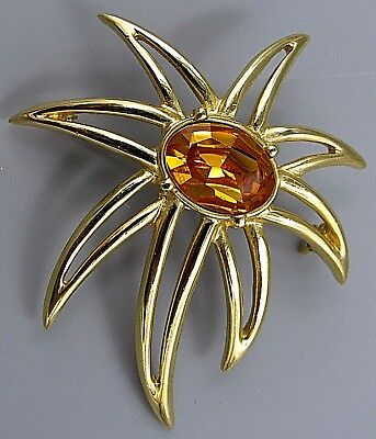 Vintage Jewelry Signed PCI Amber Crystal Star Burst BROOCH PIN Rhinestone Lot W
