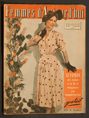'femmes D'auourd'hui' French Vintage Magazine Dress Pattern 8 May 1952