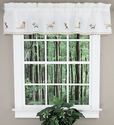 "Dogs, 58""W X 12""L Embroidered Insert Valance"