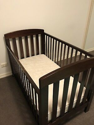 Boori Urbane Cot Convertible Toddler Bed Wooden Brown With Sliding Side Rail